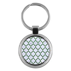 Tile1 (r) White Marble & Green Leather Key Chains (round)