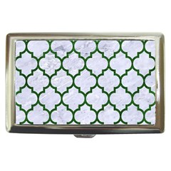 Tile1 (r) White Marble & Green Leather Cigarette Money Cases