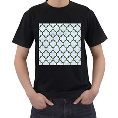 Tile1 (r) White Marble & Green Leather Men s T Shirt (black) (two Sided)