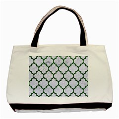 Tile1 (r) White Marble & Green Leather Basic Tote Bag