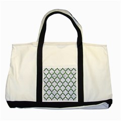 Tile1 (r) White Marble & Green Leather Two Tone Tote Bag