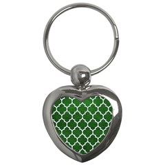 Tile1 White Marble & Green Leather Key Chains (heart)