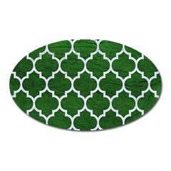 Tile1 White Marble & Green Leather Oval Magnet