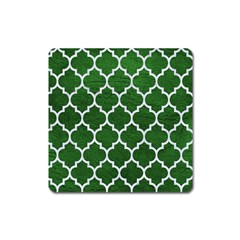Tile1 White Marble & Green Leather Square Magnet