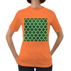 Tile1 White Marble & Green Leather Women s Dark T Shirt