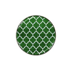 Tile1 White Marble & Green Leather Hat Clip Ball Marker (10 Pack)
