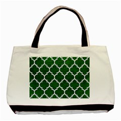 Tile1 White Marble & Green Leather Basic Tote Bag