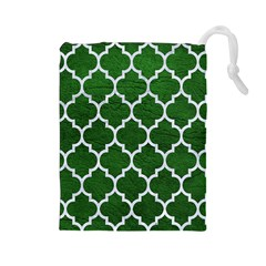 Tile1 White Marble & Green Leather Drawstring Pouches (large)