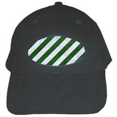 Stripes3 White Marble & Green Leather (r) Black Cap