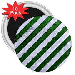 Stripes3 White Marble & Green Leather (r) 3  Magnets (10 Pack)
