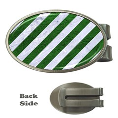 Stripes3 White Marble & Green Leather (r) Money Clips (oval)  by trendistuff