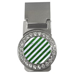 Stripes3 White Marble & Green Leather (r) Money Clips (cz)