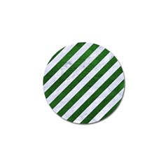 Stripes3 White Marble & Green Leather (r) Golf Ball Marker (4 Pack)