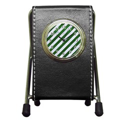 Stripes3 White Marble & Green Leather (r) Pen Holder Desk Clock