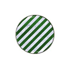 Stripes3 White Marble & Green Leather (r) Hat Clip Ball Marker (10 Pack)