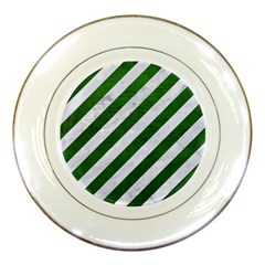 Stripes3 White Marble & Green Leather (r) Porcelain Plates