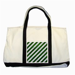 Stripes3 White Marble & Green Leather (r) Two Tone Tote Bag