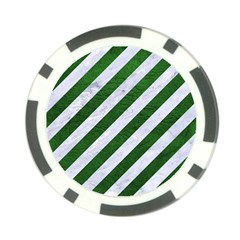 Stripes3 White Marble & Green Leather (r) Poker Chip Card Guard (10 Pack)
