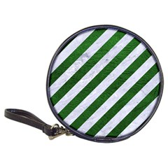 Stripes3 White Marble & Green Leather (r) Classic 20 Cd Wallets