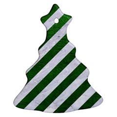 Stripes3 White Marble & Green Leather (r) Christmas Tree Ornament (two Sides)