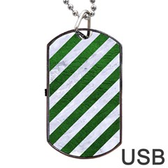 Stripes3 White Marble & Green Leather (r) Dog Tag Usb Flash (one Side) by trendistuff