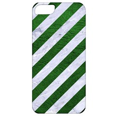 Stripes3 White Marble & Green Leather (r) Apple Iphone 5 Classic Hardshell Case