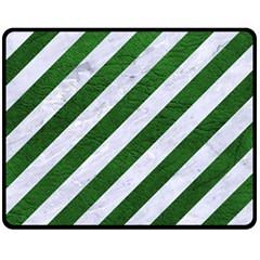 Stripes3 White Marble & Green Leather (r) Double Sided Fleece Blanket (medium)  by trendistuff