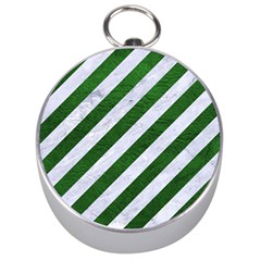 Stripes3 White Marble & Green Leather (r) Silver Compasses