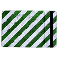 Stripes3 White Marble & Green Leather (r) Ipad Air Flip