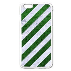 Stripes3 White Marble & Green Leather (r) Apple Iphone 6 Plus/6s Plus Enamel White Case