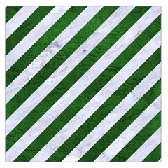 Stripes3 White Marble & Green Leather (r) Large Satin Scarf (square)