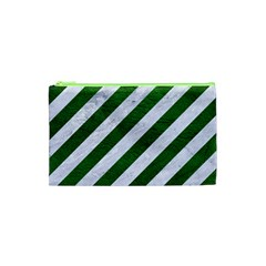 Stripes3 White Marble & Green Leather (r) Cosmetic Bag (xs)