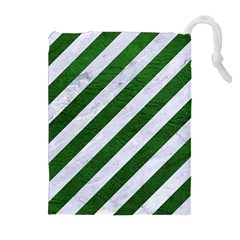 Stripes3 White Marble & Green Leather (r) Drawstring Pouches (extra Large)