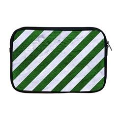 Stripes3 White Marble & Green Leather (r) Apple Macbook Pro 17  Zipper Case