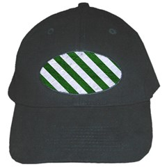 Stripes3 White Marble & Green Leather Black Cap by trendistuff