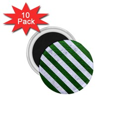 Stripes3 White Marble & Green Leather 1 75  Magnets (10 Pack)