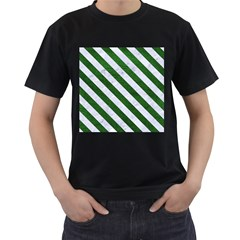 Stripes3 White Marble & Green Leather Men s T Shirt (black) (two Sided)