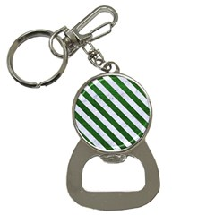 Stripes3 White Marble & Green Leather Bottle Opener Key Chains