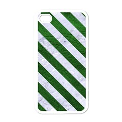 Stripes3 White Marble & Green Leather Apple Iphone 4 Case (white)