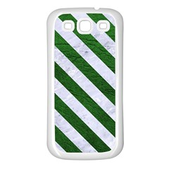 Stripes3 White Marble & Green Leather Samsung Galaxy S3 Back Case (white)