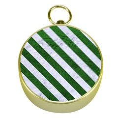 Stripes3 White Marble & Green Leather Gold Compasses
