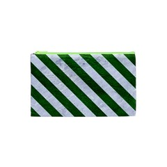 Stripes3 White Marble & Green Leather Cosmetic Bag (xs)
