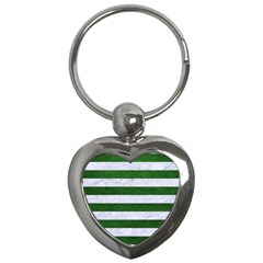 Stripes2 White Marble & Green Leather Key Chains (heart)