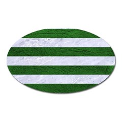 Stripes2 White Marble & Green Leather Oval Magnet