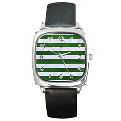 Stripes2 White Marble & Green Leather Square Metal Watch by trendistuff