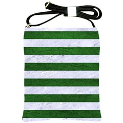Stripes2 White Marble & Green Leather Shoulder Sling Bags