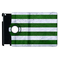 Stripes2 White Marble & Green Leather Apple Ipad 3/4 Flip 360 Case