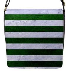 Stripes2 White Marble & Green Leather Flap Messenger Bag (s)