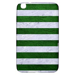 Stripes2 White Marble & Green Leather Samsung Galaxy Tab 3 (8 ) T3100 Hardshell Case