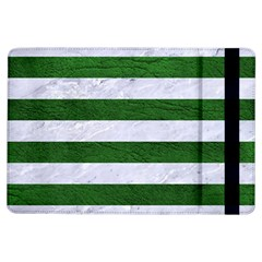 Stripes2 White Marble & Green Leather Ipad Air Flip
